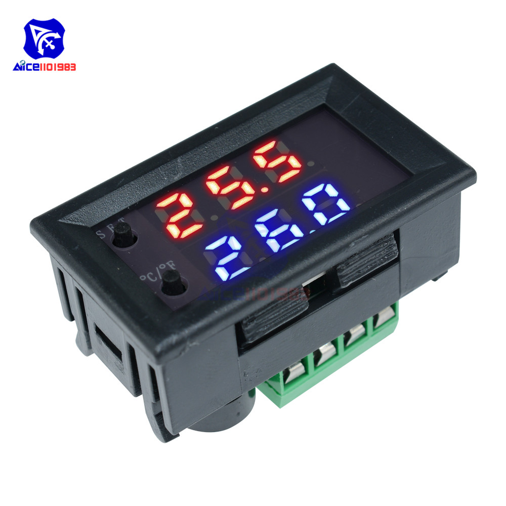 W1209WK 12V 220V LED Digit Thermostat Temperature Controller Thermometer Celsius/Fahrenheit Switch Module with NTC Sensor Probe 10