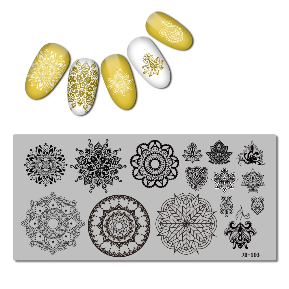 Image 5 - 2018 Stainless Steel Stamping Plate Template Xmas Christmas Snow Tea Cup Mandala Red Wine Flower Love Easter Nail Tool JR101 110-in Nail Art Templates from Beauty & Health