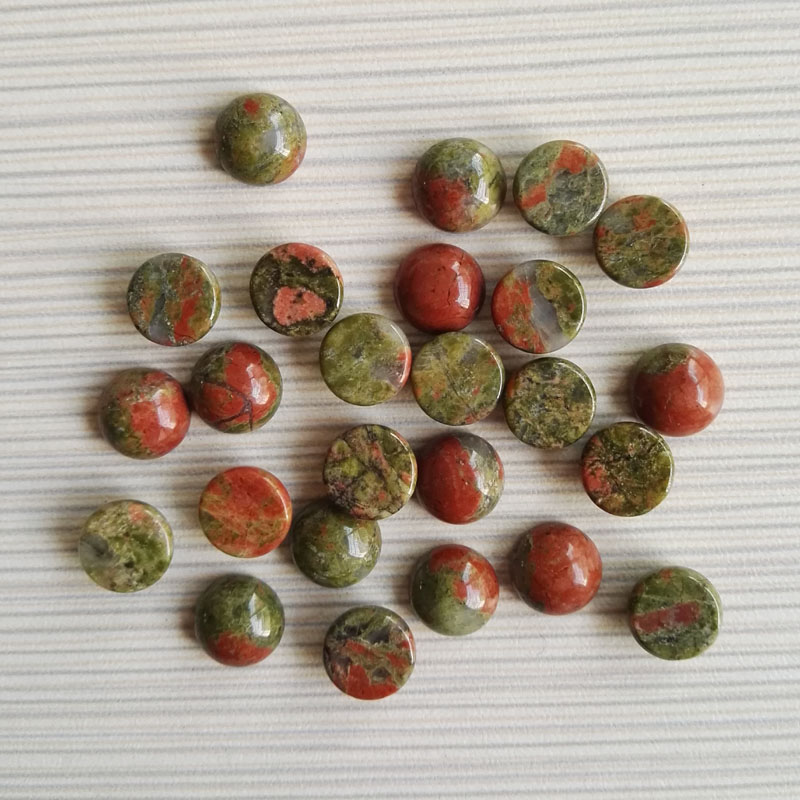 2015 fashion 10x10mm natural green flower round CAB CABOCHON stone beads for jewelry Accessories wholesale 50pcs/lot
