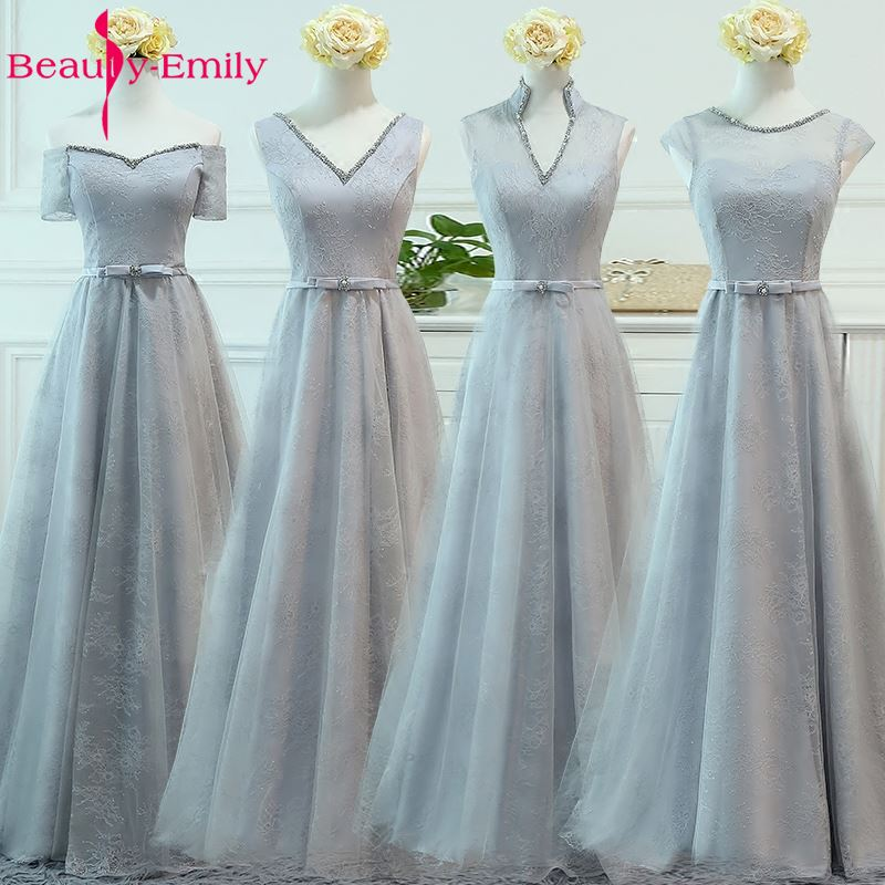 Beauty-Emily Luxuy Beads Lace Long A-line Grey   Bridesmaid     Dresses   2017 Off the Shoulder Lace Up Homecoming Party   Dresses