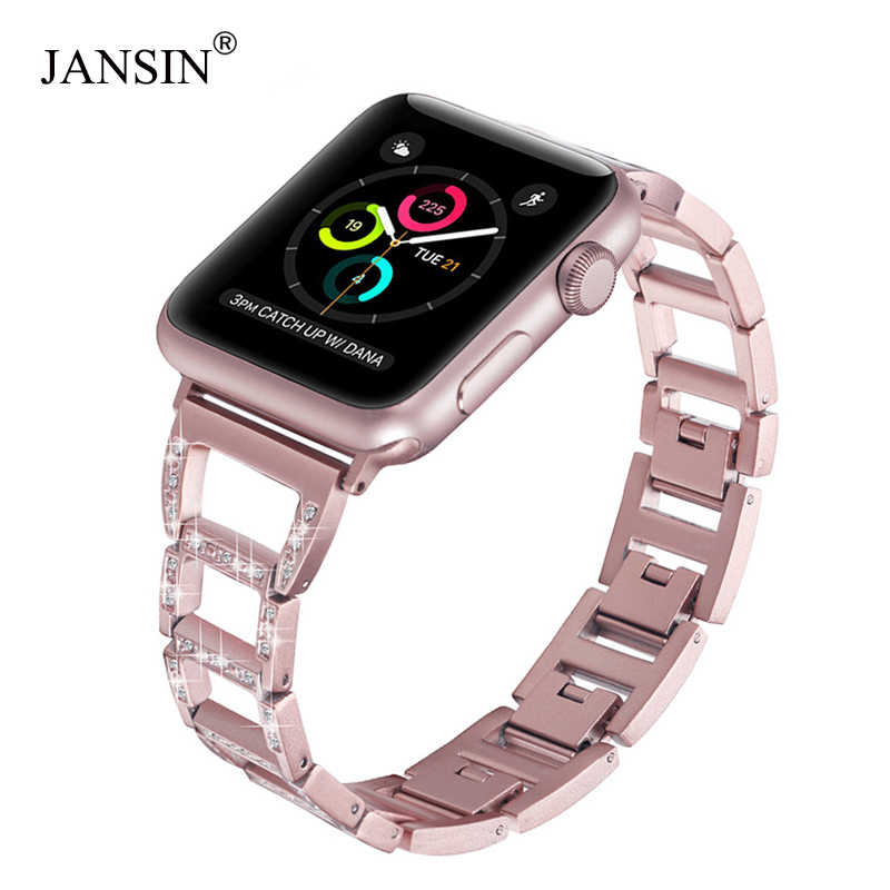 JANSIN link Bracelet Stainless Steel Strap For Apple Watch Band 38mm 42mm 40mm 44mm iWatch Series 5 4 3 2 1 band women watchband