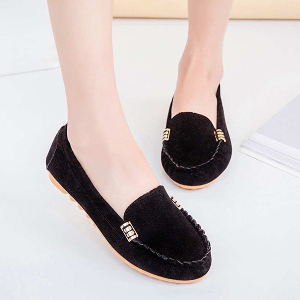 New Womens Candy Color Shoes Spring Autumn Cute Slip on Ladies Shoes Boat Shoes Ballet Flats Women Flat Casual Boat Shoes(China)