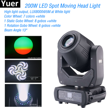 NEW 200W Spot Wash Beam Stage Effect Light 200W Spot LED Moving Head Light DMX Control Stage Light For Disco Wedding And Party new stage light 260w led spot zoom moving head light 6 18 dmx channels beam spot wash 3in1 led strong light for party disco dj