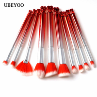 Professional 10pcs Set Crystal Red Color Makeup Brush Beauty Makeup Brush Foundation Brush Eye Brush