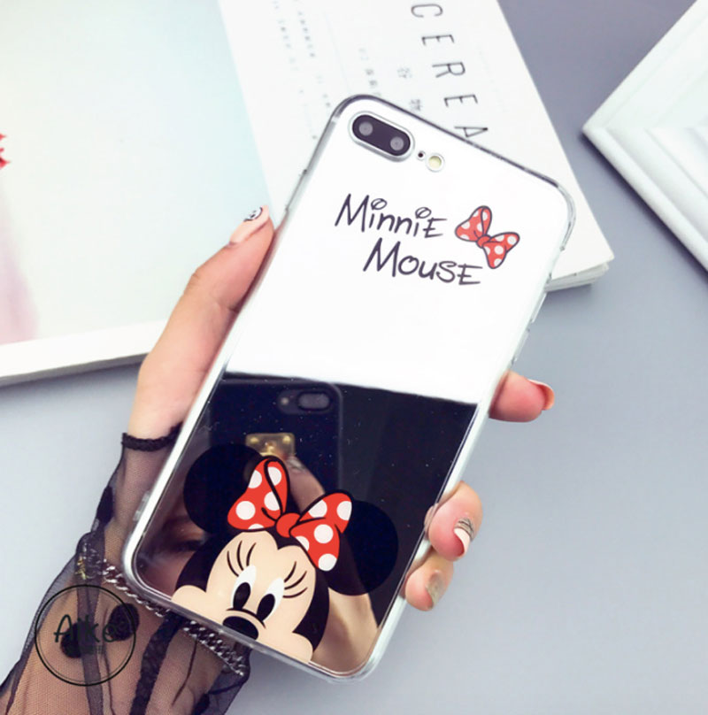 High Quality Phone Case For iPhone X 8 7 5 6 SE 5s 6s Plus 6Plus 6sPlus 7Plus 8Plus shell Mickey Minnie Mirror Cover TPU Casing