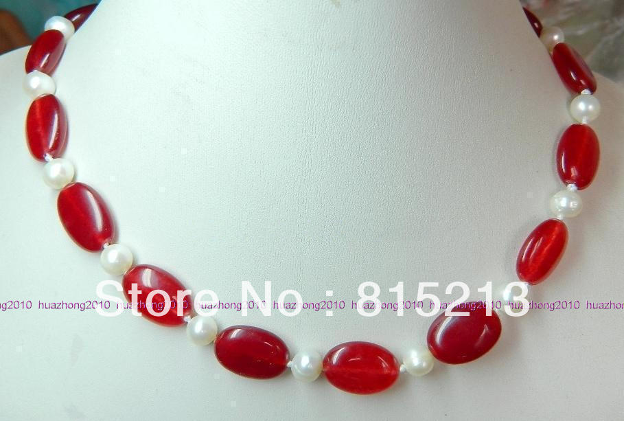 """NEW 7-8MM WHITE akoya PEARL /& 10MM red ruby NECKLACE 18/"""""""