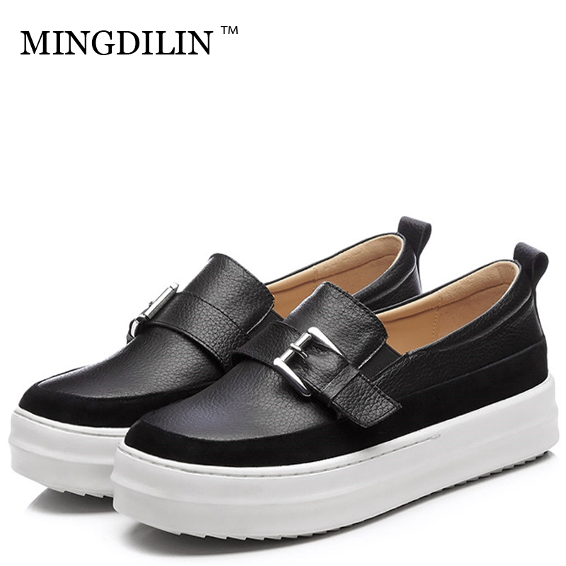 MINGDILIN Women's Genuine Leather Loafers Shoes White Woman Flat Platform Shoes Casual Platform Shoes Plus Size Platform Shoes цена