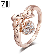 ZN 2019 Rings For Women Sweet Heart Shape Pendant Cubic Zirconia Silver Rose Gold Color Fashion Jewelry Valentines Day Gifts