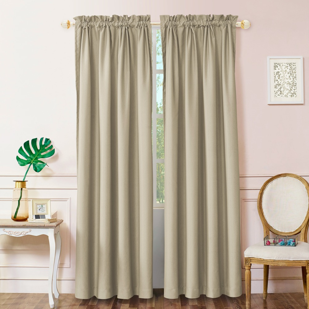 GIGIZAZA 3 Pass High Blinds Stripe Print Fabric Window Curtains for Living Room Heavy Black Out Modern Grommet 52 by 84 inch