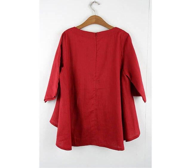 Tops De Ropa Vintage Rojo Mujer 2019 Retro Damas Suelto Green red Algodón Tres Lino Blusas Camisa Las Mujeres Linda Étnica Cuartos EzEqfvTa
