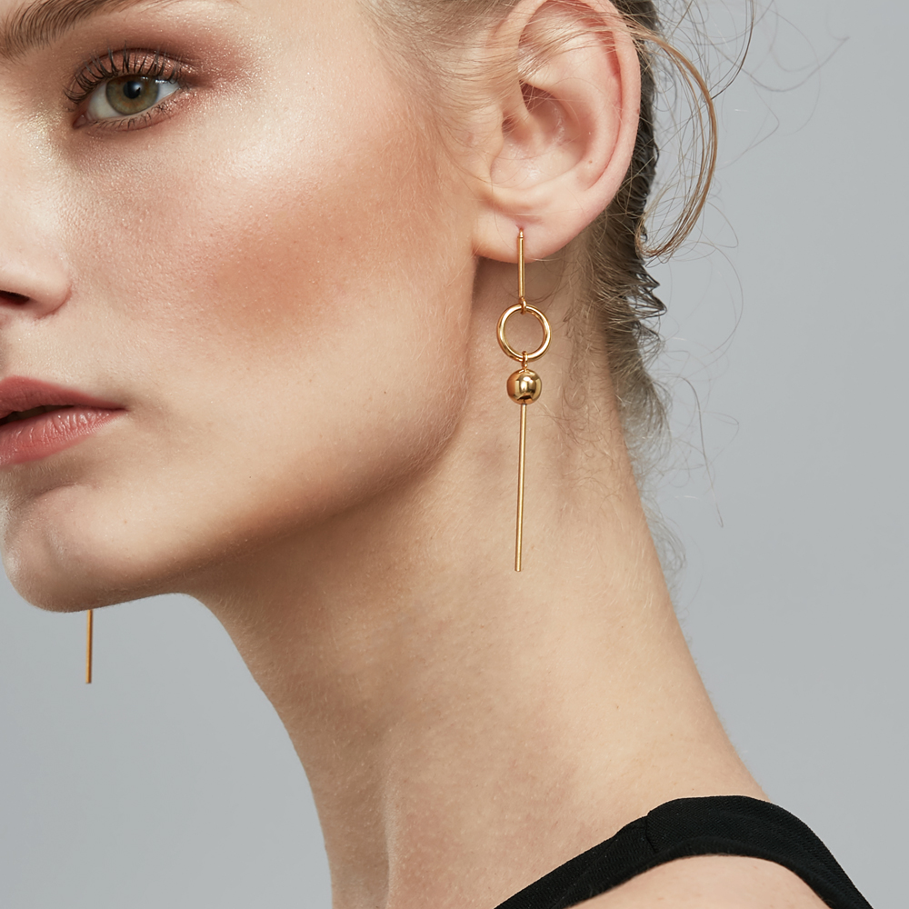 Enfashion Geometric Long Circle Dot Dangle Earrings Gold color Resin Earings Drop Earrings For Women Earring Jewelry brinco emanco resin round pendant earrings for women copper alloy multilayer big circle leopard grain drop earrings