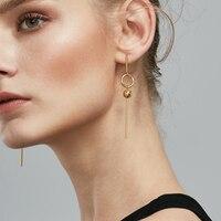 Enfashion Geometric Long Circle Dot Dangle Earrings Gold Color Resin Earings Drop Earrings For Women Earring