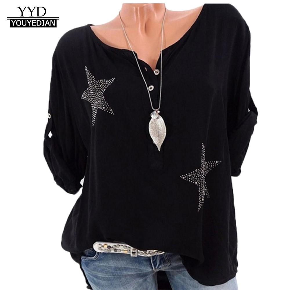 Women's Clothing Constructive Blouse 2018 Women Ladies Tops Fashion Button Five-pointed Star Hot Drill Plus Size Tops Blouse 3/4 Sleeve Female Clothes Roupas Products Are Sold Without Limitations