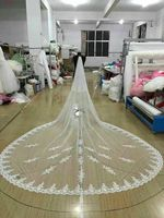 2 LAYER LACE LONG VEIL BRIDAL VEIL CATHEDRAL LENGTH WEDDING VEIL WHITE AND IVORY AVAILABLE