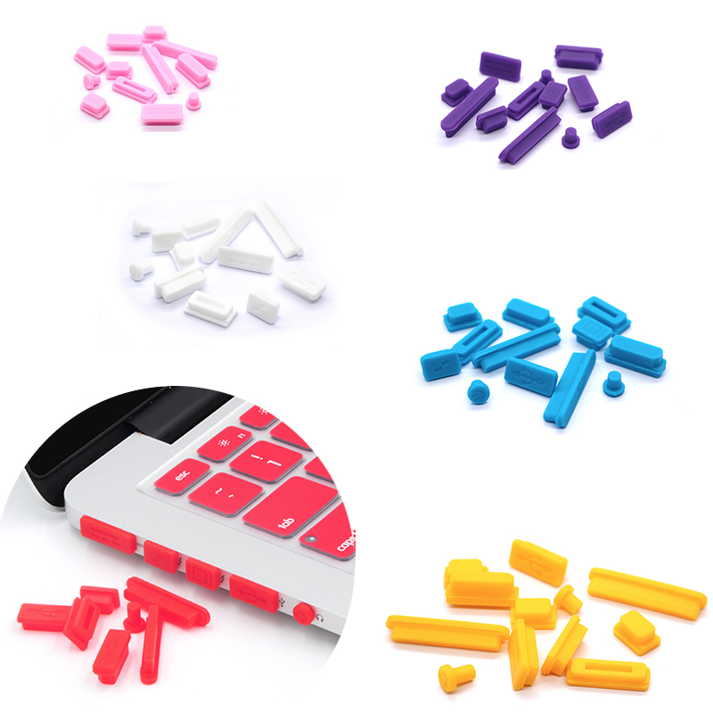 Hot Selling 1set Silicone Data Port Anti Dustproof Plugs For MacBook pro air retina 13/15inch Dust Plug Stopper Cover Set(China)