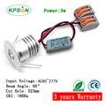 15pcs 3w 85-277V narrow beam 60D  led spot  3W led light mini spot 60 degree 23mm cutout with mini 85-277V driver
