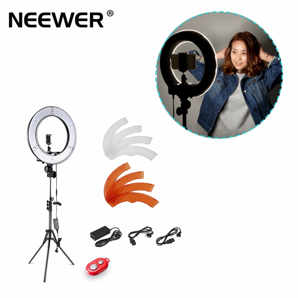 Neewer 36W 5500K 35cm LED Ring Light and Light Stand Lighting Kit w/ Soft Filter,Hot <font><b>Shoe</b></font> Adapter,<font><b>Bluetooth</b></font> Receiver US/EU Plug