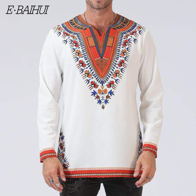 E-BAIHUI novo Odeneho Branco Polido dos homens Desgaste de Algodão Top Com Dashiki. Vestuário africano macho Estranho t camisa longo t 7045