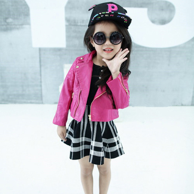 3e1fb0d2d1a1 2T 6T 2017 new brand fashion spring baby girl clothes jacket girl PU ...