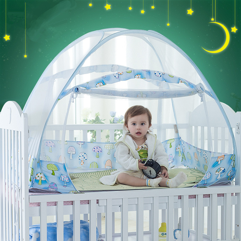 Mongolian Yurt Children Mosquito Net Blue Large Space Bed Tent For Home Decor 12 Sizes Cartoon Baby Cot Netting Canopy cuna bebe