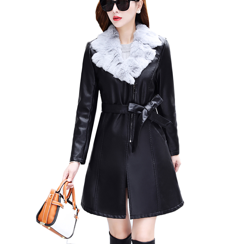 2018 Fur Collar Women Long Leather Jacket Coat Female Winter Long Sleeve Suede Fur Jacket Women Bow Motorcycle Jacket Plus Size
