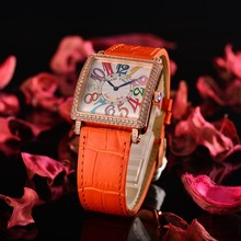 Reef Tiger/RT Fashion Switzerland Quartz Watch with Diamonds Rose Gold Women Watches with Colorful Numeral Leather Strap RGA173