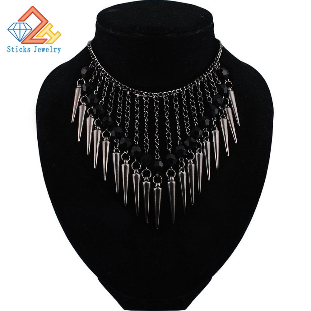 Summer Hot Trendy Necklace Dark Color Plated Chain Hanging Acrylic Beads Rivet Tassel Long Necklace Jewelry Accessories Women