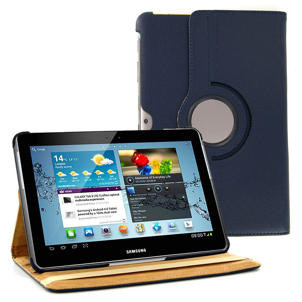 Cover Case For Samsung Galaxy Tab 2 10.1 GT-P5100 P5110 P7500 P7510 360 Degree Rotating Tablet PU Leather Case Tab2 10.1 Glass