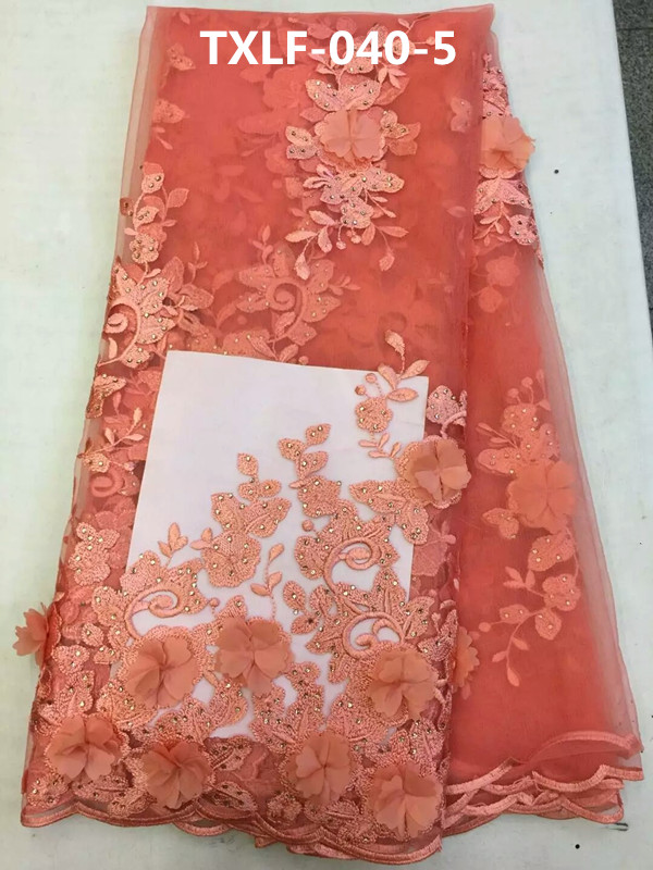 (5yards/pcs)Luxury 3d flowers embroidered african french tulle lace in coral red for deluxe african custom dress Mar-24-2017