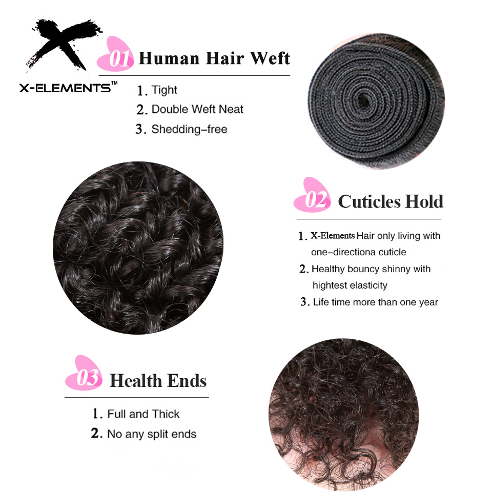 X-Elements Hair Malaysian Kinky Curly Hair Weave 3 4 Bundles Deals 100% Human Hair Extensions Non-Remy 8-26 Inches Natural Color (6)
