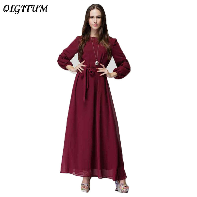 Longue robe musulmane à manches lanterne ...