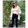 LANGSTAR Women Autumn Winter Cardigan Open Front Poncho Curled Knitted Sweater Batwing Cardigans Casual Oversized Long