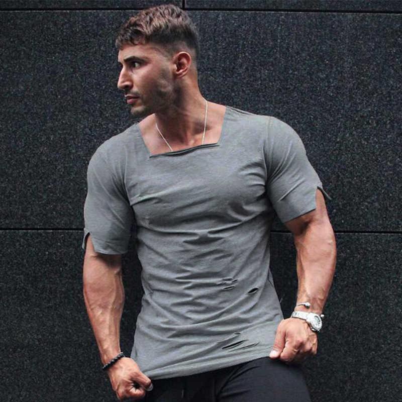 566f344905 Brand Clothing 2019 Summer T Shirt Men Fashion Ripped Hole Fitness T-shirt  Summer Short