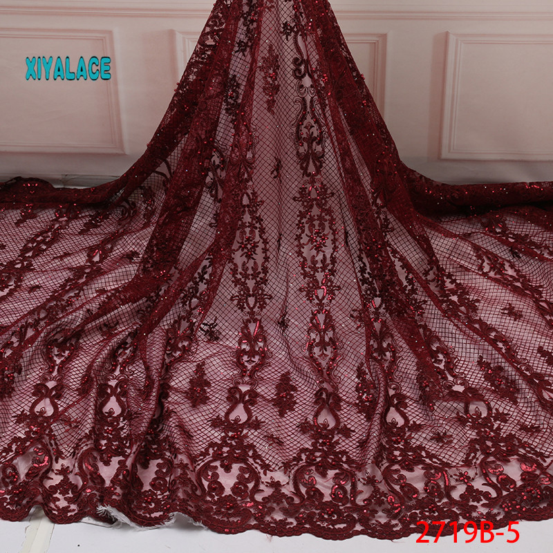 Nigerian Lace Fabric 2019 High Quality Nigerian Lace Fabrics Organza Sequins Beads Embroidery French Tulle Lace Fabric YA2719B-5