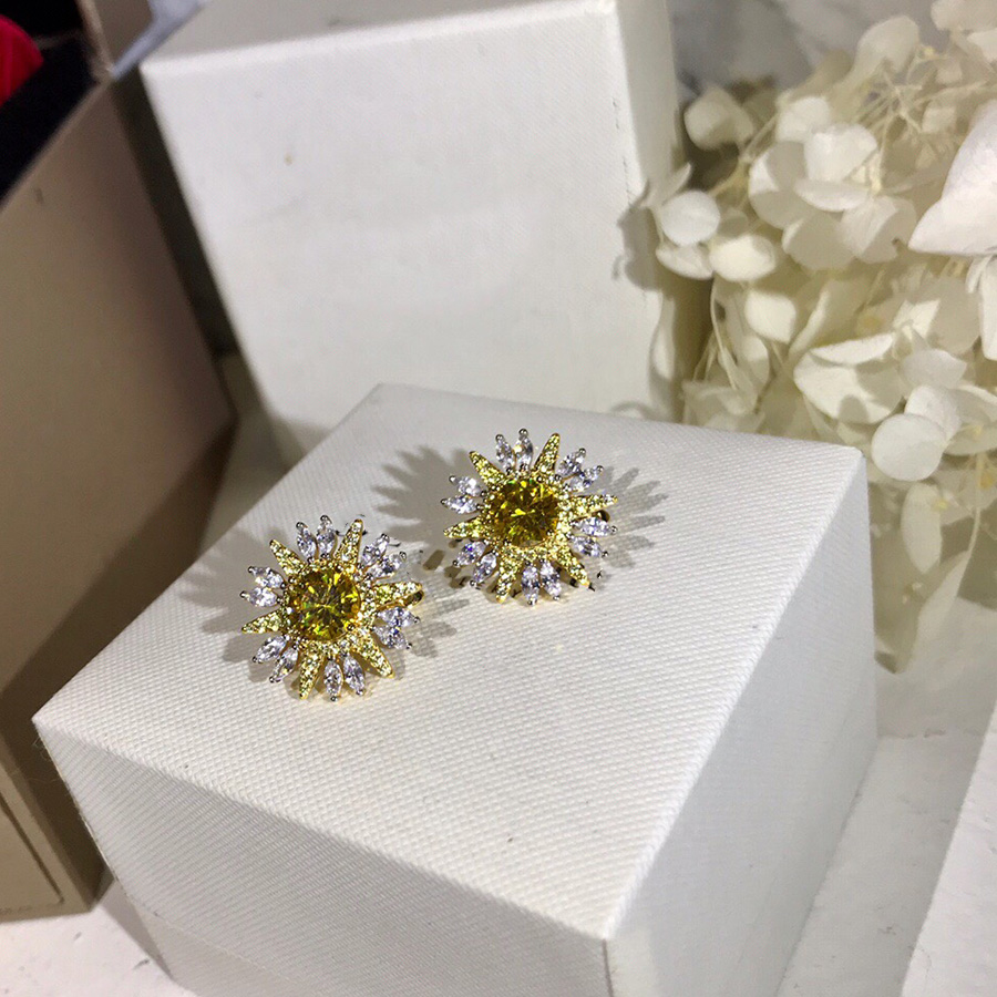 Luxury Brand Statement Sunflower Flower Stud Earrings Charms Yellow Zircon Crystal Jewelry For Women Dubai High Fashion Bijoux