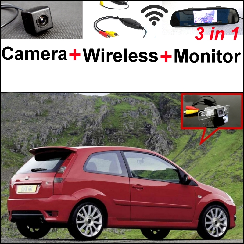 3 in1 Special Camera + Wireless Receiver + Mirror Monitor DIY Parking System For Ford Fiesta ST Classic For ForIkon 2002~2008 wireless pager system 433 92mhz wireless restaurant table buzzer with monitor and watch receiver 3 display 42 call button