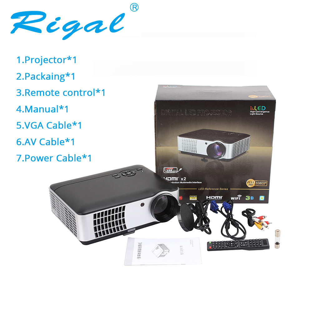 Rigal projector rd806a led smart android wifi 5000 lumen for Smart pocket projector