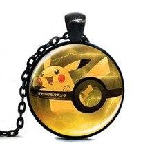 New Anime Kolye Mudkip Pokeball Pokemon Necklace fashion Jewelry Glass Picture Pendant chain man womens steampunk necklace charm
