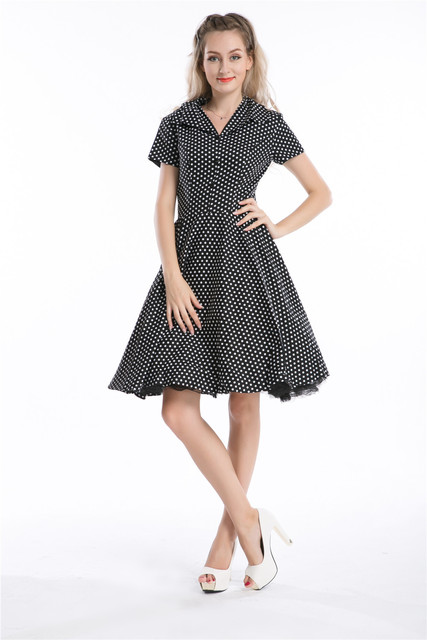 Free Shipping 1092 Black Polka Dot Swing 50s Housewife Pinup Dress