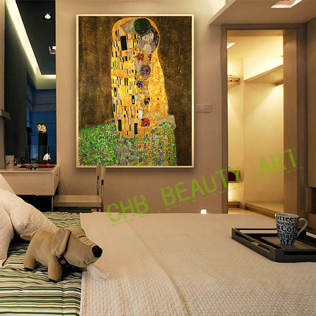 2017 Gustav Klimt Kiss Printed Painting On Canvas Wall Art Picture ...