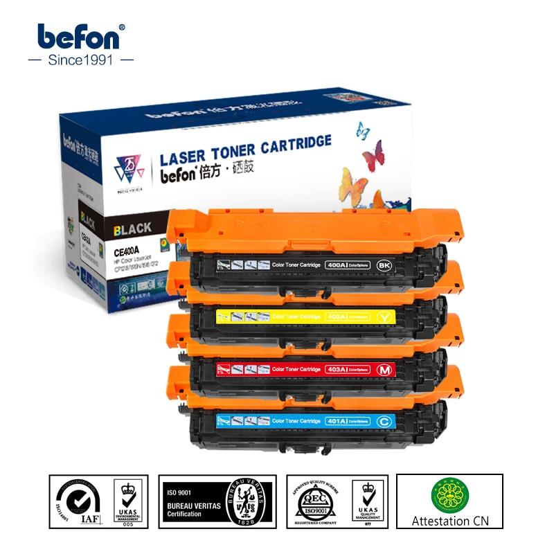 befon Color Toner Cartridge  CE400A CE401A CE402A CE403A 400a 400 for Hp 500 Color MFP M575 M551 M551xh M570dn M570dw M570 551 cs h400x 403 toner laser cartridge for hp 507a 507 mfp m551n m551dn m551xh m570dn m570dw m 551 575 570 kcmy 10 5 5 7k free dhl