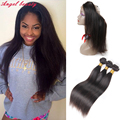 Silk Straight 360 Lace Frontal With Bundle Peruvian Virgin Hair Straight 3 Bundles With 360 Lace Frontal Weave With Baby Hair