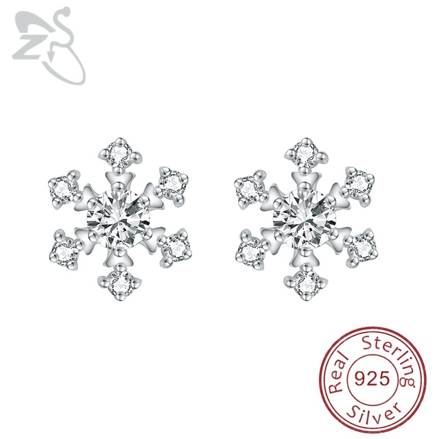 092becfc3e95d US $7.2 16% OFF Romantic Snowflake Earrings Woman 925 Sterling Silver  Earing Helix Jewelry AAA Cubic Zirconia Snow Flower Earring Crystal  Brinco-in ...