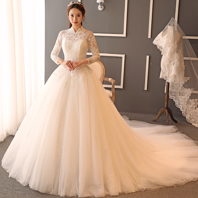 2017 Korean Style White Lace Long Sleeve Backless Wedding