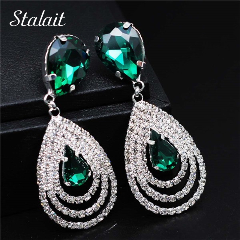 100% merek ratu pesta pernikahan pengantin Warna Silver bersinar kristal rhinestones water drop earrings fashion Jewelry 06025