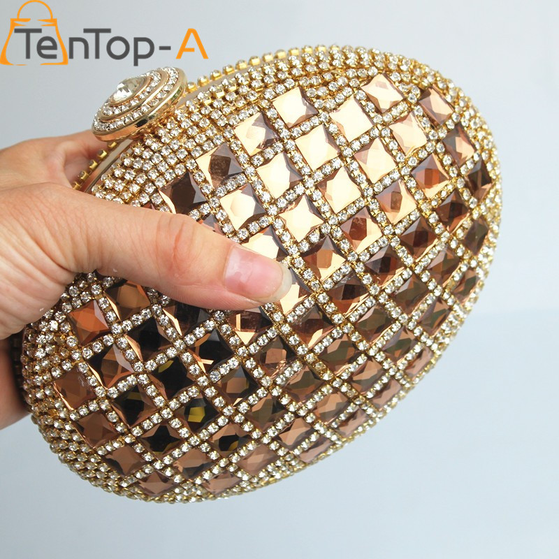 ФОТО TenTop-A EGG Both Side Diamonds Evening Bag Luxury Banquet Bag Bridesmaid Clutch Purse Women Handbag Elegant Small Shoulder Bags