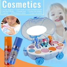 19Pcs Disney Ice Princess Makeup Car Toys Set Mini Play House Cosmetics Toy for Children Kids Girls Cosmetic Make-up