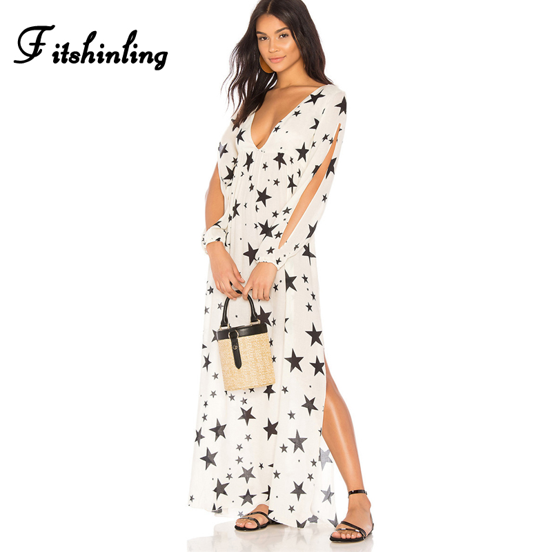 Fitshinling Stars print sexy maxi dresses for women 2018 deep v neck side slit beach long dress cut out sleeve white pareos hot outfits para playa mujer 2019