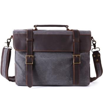 "fashion  canvas Laptop Bag for 15.6"" computer bag Vintage men's  oil wax canvas leather shoulder bag handbag free shipping"
