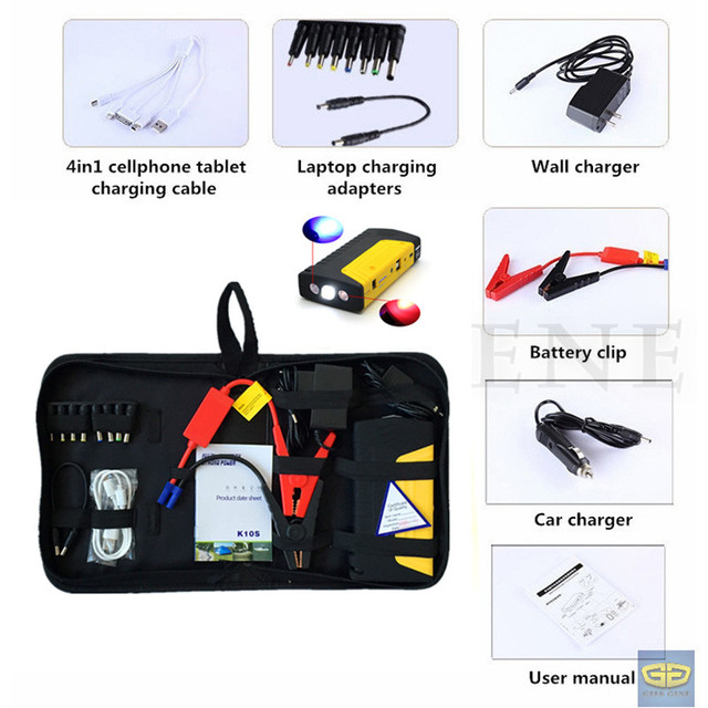 Mini Emergency 12V Car Jump Starter 400A Peak Jumper Booster Charger Mobile 2USB Phone Laptops Power Bank SOS Light Free Ship